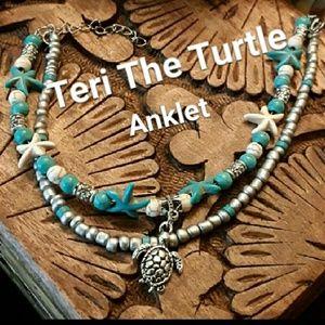 Jewelry - NEW Turtle Nautical Anklet w/ Bonus Pouch